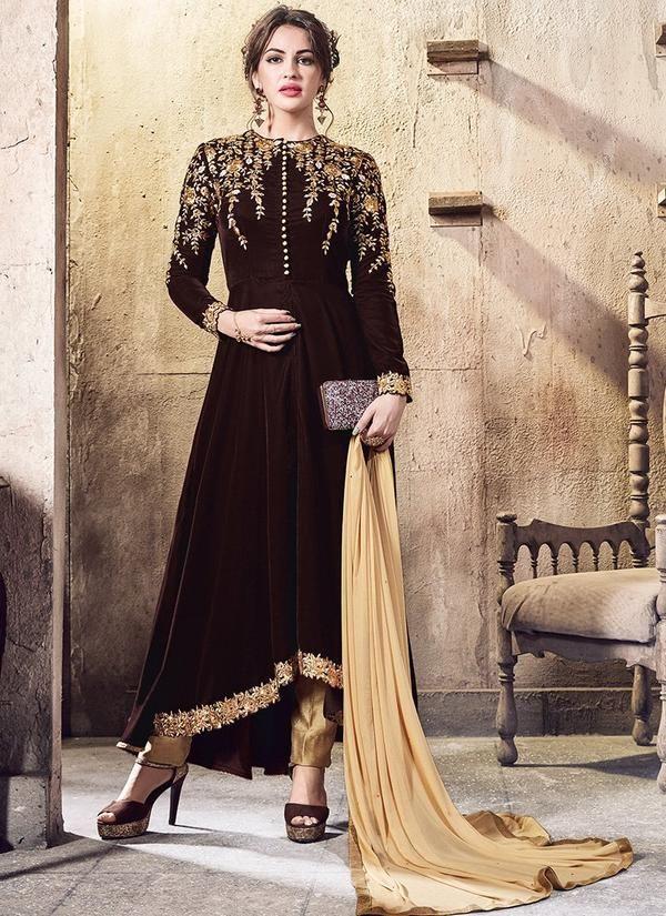 Embroidered Velvet Asymmetric Suit In Dark Brown Toj