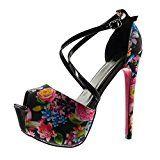 #9: Angkorly - Zapatillas de Moda Tacón escarpín Sandalias stiletto zapatillas de plataforma sexy mujer flores tanga Talón Tacón de aguja alto 15 CM - Negro