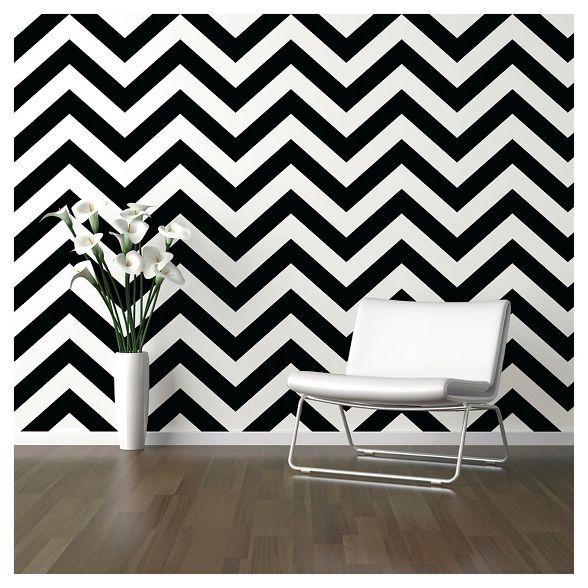Devine Color Zig Zag Peel Stick Wallpaper Black White Peel And Stick Wallpaper Flat Paint Striped Wallpaper