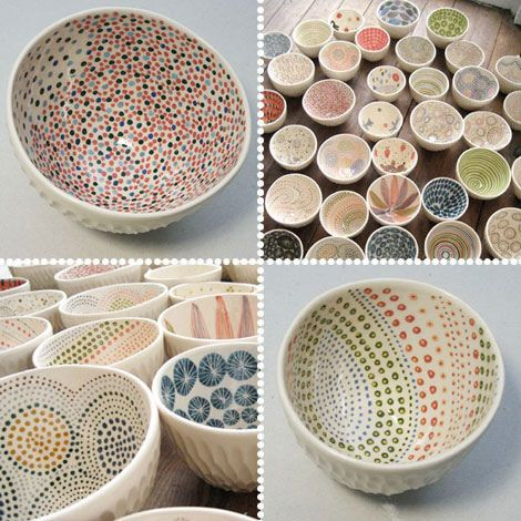 Love the pointillism style on these bowls! Easy to create (and perfect for kids) with the round end of a paintbrush. Reminds us of our project, Ella-phant. http://www.bisqueimports.com/Ella-phant