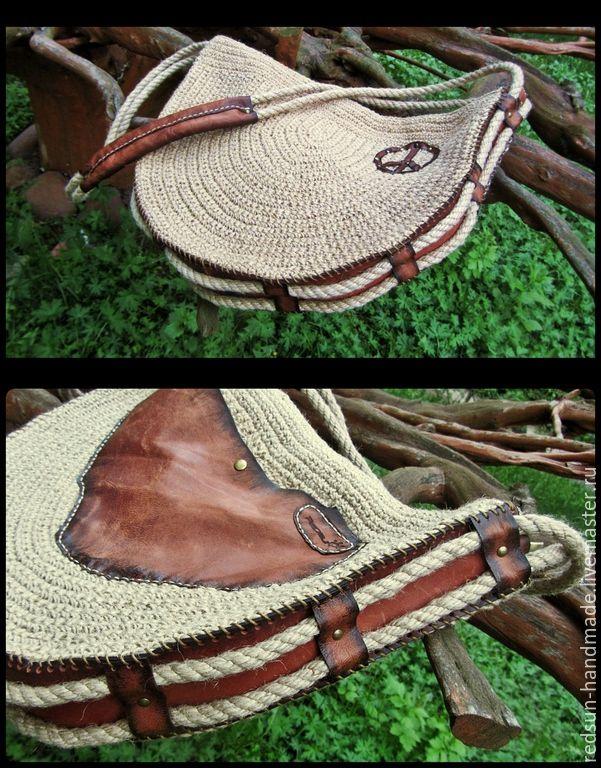 Купить Сумка джутовая Хиппи в городе скидка 15% - вязаная сумка, хиппи, кожа натуральная