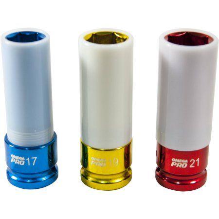 Omega Pro 83001 3-Piece 1/2 inch Drive Extra-Thin Wall Wheel/Nut Protector Impact Socket Set, mm