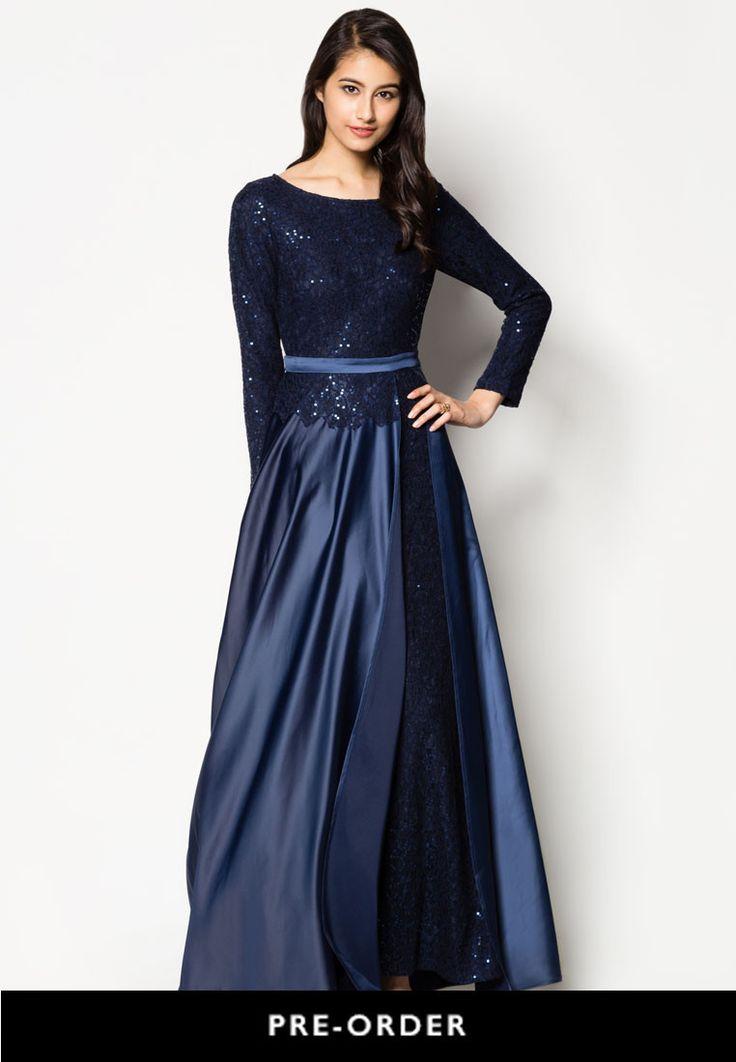 Buy Zalia Lace Slit Maxi Flare Dress Online | ZALORA Malaysia