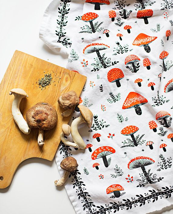 Mushroom TeaTowel 100% cotton 20x30 comes in a gift by MirDinara