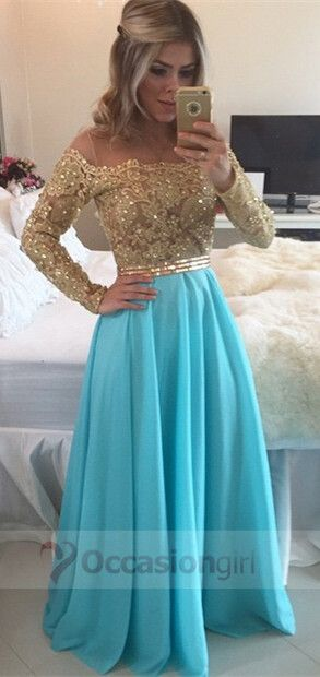 2016 prom dresses, gold long sleeves prom dresses, blue long chiffon prom dresses, evening dresses