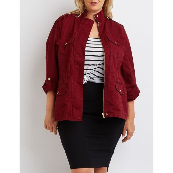Charlotte Russe Cargo Anorak Jacket ($41) via Polyvore featuring plus size…