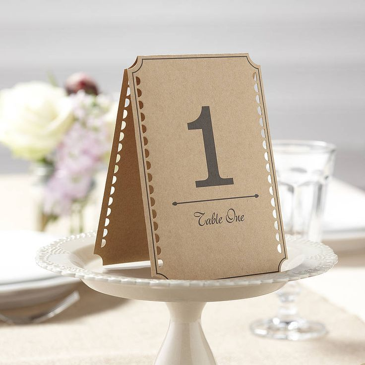 Rustic Brown Kraft Wedding Table Numbers