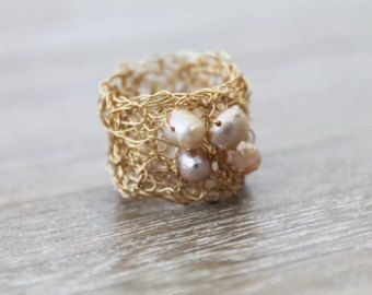 Anello di filo d'argento crochet filo uncinetto di AlbaWirework