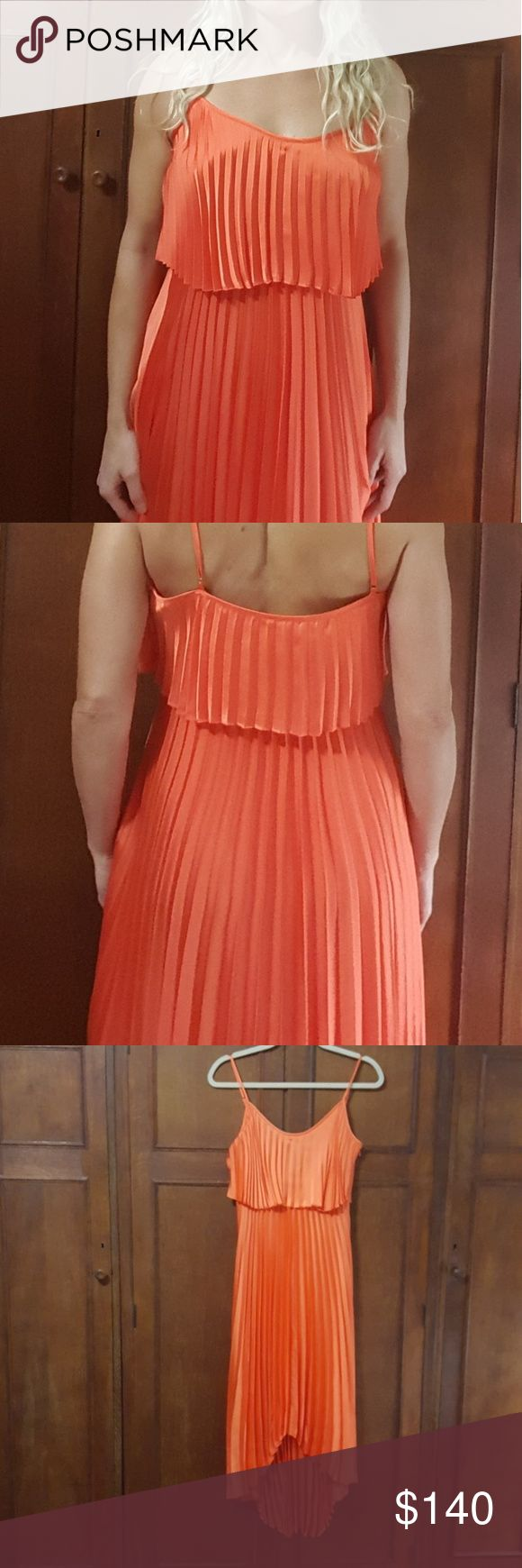 """Laundry Shelli Segal High/Low Orange Pleated Dress Absolutely beautiful. Like new condition. Fabric content in last pic.   Approx measurements when flat:  Shoulder to shoulder 11"""" Armpit to armpit 15"""" Waist area 15"""" Length of straps (as shown) 4.5"""" Length (front) 41.5, (back) 52""""  For reference, I'm 5'6 and 34-27-34 and this dress fits great. Laundry By Shelli Segal Dresses"""