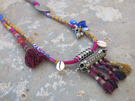Ethnic necklace with vintage Yemeni amulet and Uzbek by EthnicTree, $145.00