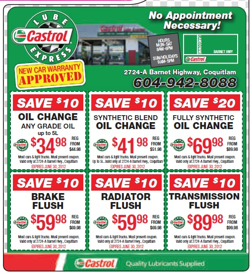 castrol lube express may 2012 doorknob ads coupons