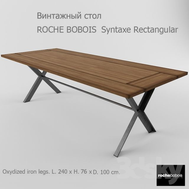 3d models table roche bobois syntaxe rectangular industrial style furniture pinterest for Table ardoise roche bobois