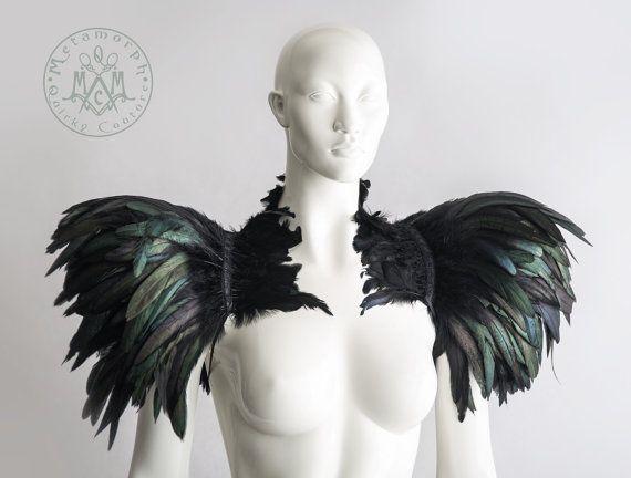 Feather capelet with high collar or feather von MetamorphDK auf Etsy