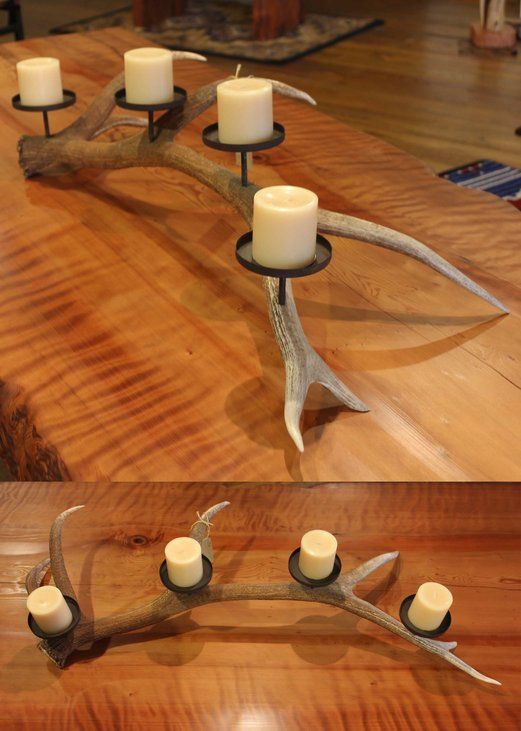 "Elk Antler Candelabra with 4 candle holders. Dimensions are 46""(long) x 14""-18""(wide) x 9""(high). Estimated shipping on this product: $ depending on services."