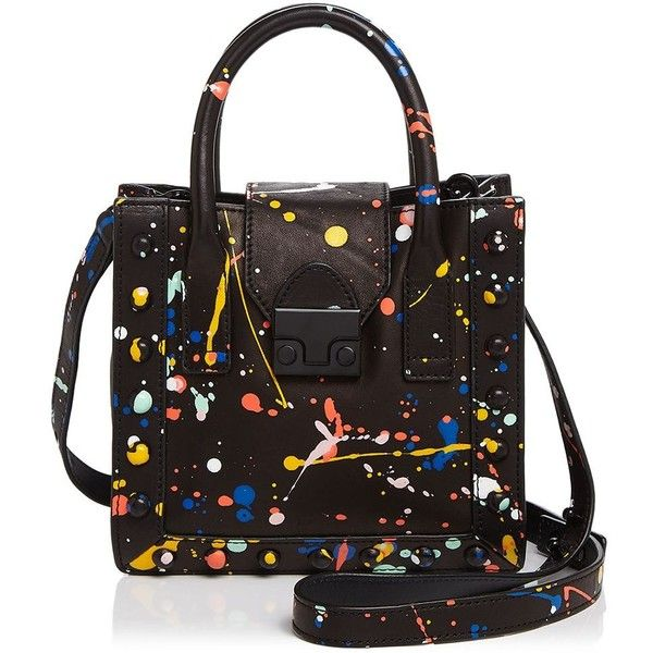Loeffler Randall Mini Work Splatter Paint Tote (1.310.360 COP) ❤ liked on Polyvore featuring bags, handbags, tote bags, totes, colorful handbags, colorful purses, pattern tote bag, tote bag purse and mini purse