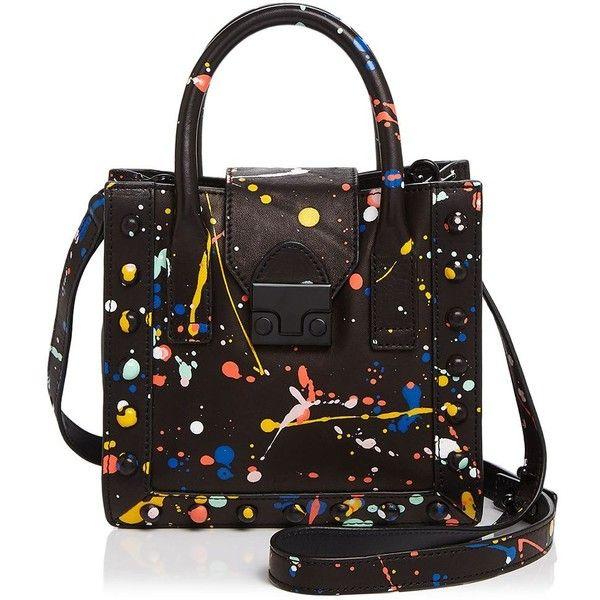 Loeffler Randall Mini Work Splatter Paint Tote (1.310.360 COP) ❤ liked on Polyvore featuring bags, handbags, tote bags, totes, colorful handbags, colorful purses, pattern tote bag, tote bag purse and mini purse
