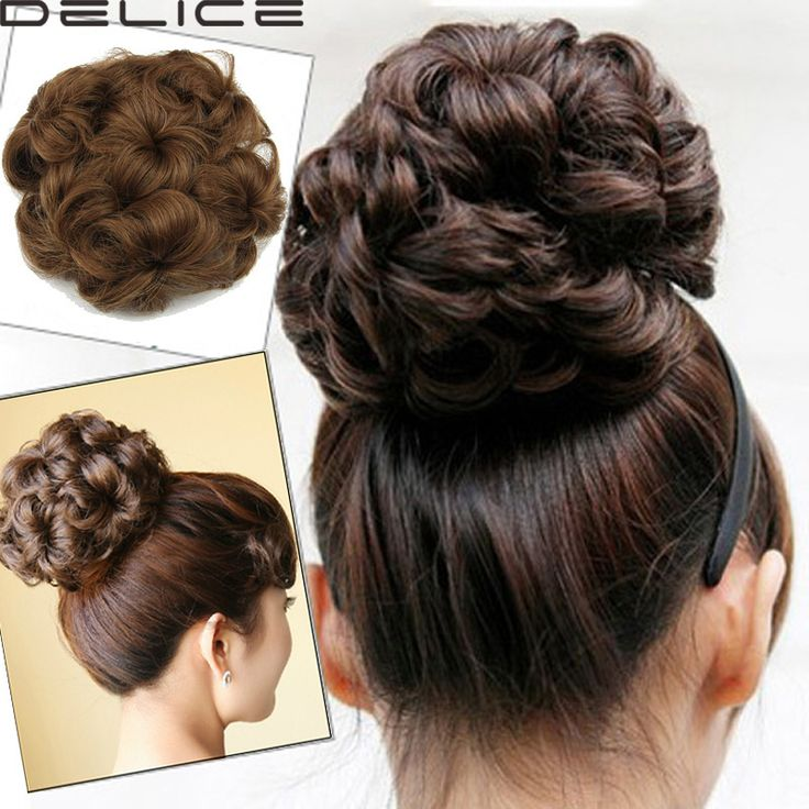 Women's Sweet Cute Curly Drawstring Hair Buns Synthetic Hair Hairpiece Bud Black/Dark Brown/Light Brown/Blonde