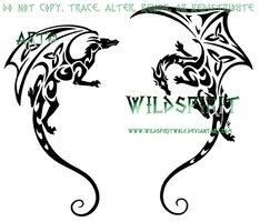 Shoulder Dragon Pair Tattoo by *WildSpiritWolf on deviantART