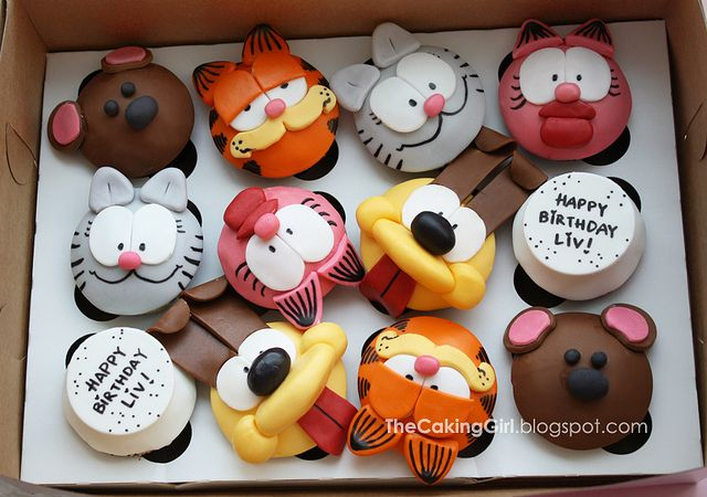Garfield and friends cupcakes by TheCakingGirl, via Flickr