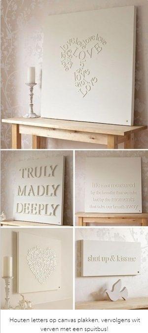 Houten letters op een canvas doek #DIY