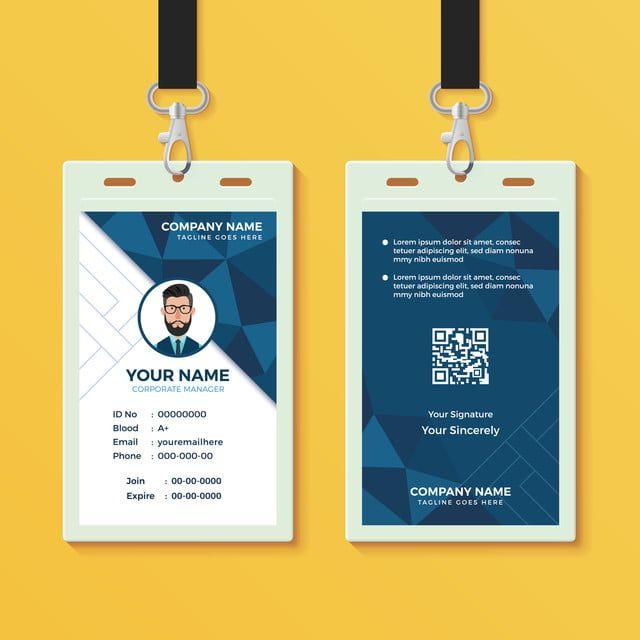 Blue Geometric Id Card Design Template Identity Card Design Id Card Template Employee Id Card
