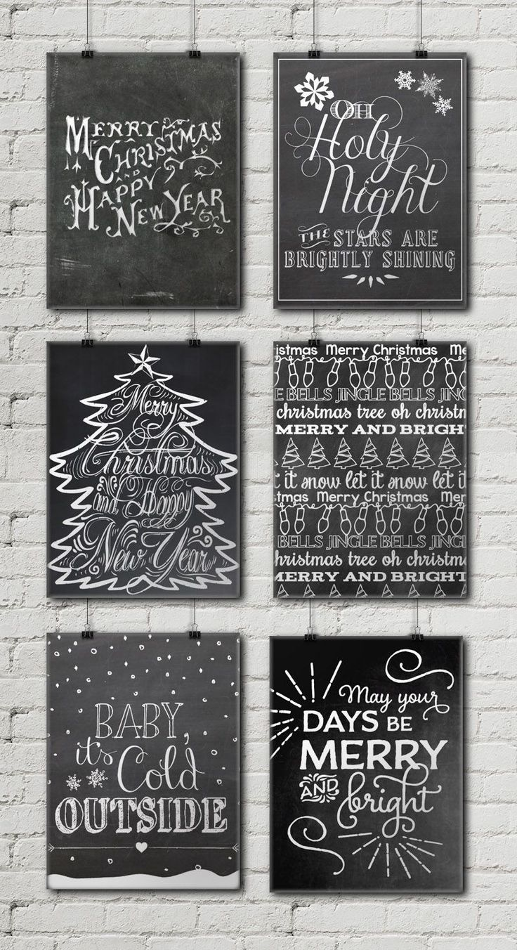 12 Free Christmas Chalkboard Printables • Little Gold Pixel