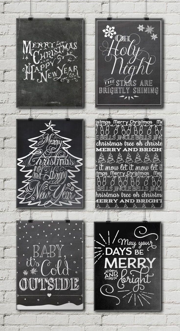 12 Free Christmas Chalkboard Printables • Little Gold Pixel