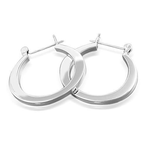 925 Sterling Silver Modern Flat Oval Hoop Earrings