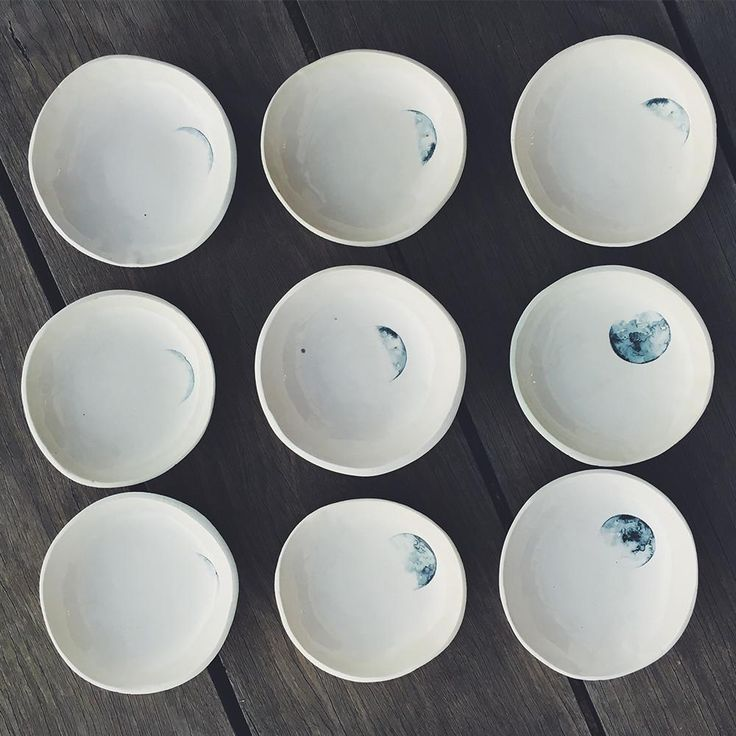 A set of four lunar trinket bowls // Amy Keevy  #moons #lunarlove #lunarceramics