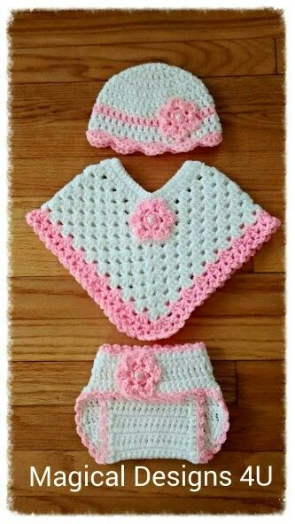 Baby Poncho w/ matching hat and diaper cover. Size 0-3mos
