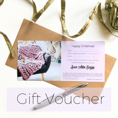 The perfect last minute Present so the recipient can choose anything they like from my Chunk Knit store. Upon purchase I will create the personalised voucher for you and email it over so you can print it yourself.... In need of a great gift? Why not give someone you love the gift