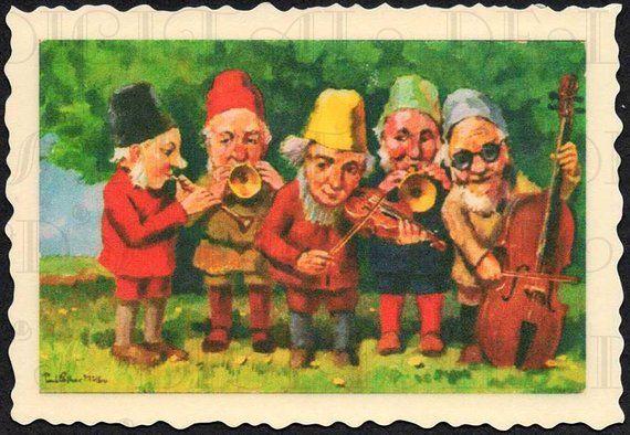 GNOME Band! Vintage Postcard Illustration  Fairy DIGITAL