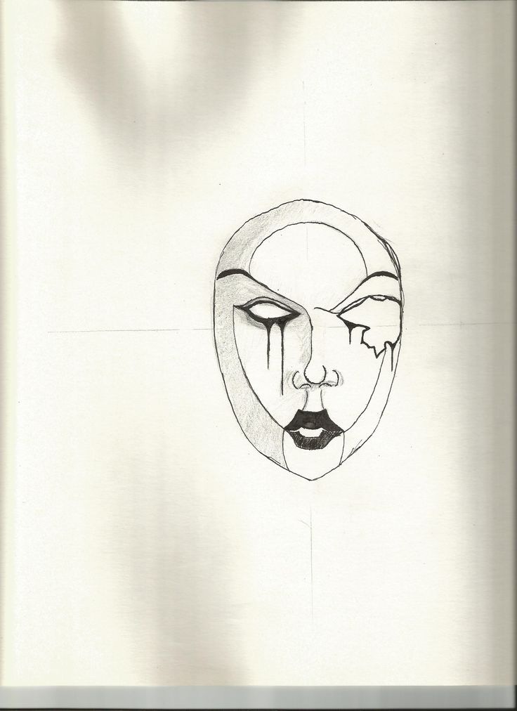 India ink, pencil - Mask
