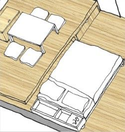 Living with Less: First, Hide the Bed (Apartment design featuring a trundle-style bed that slides UNDER a raised platform floor area.)