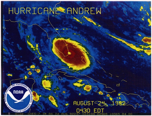 An infrared satellite image shows Hurricane Andrew making landfall in South Florida. The storm killed 15 people in the hours that followed. Dozens more would die in its aftermath.  The house I grew up in was destroyed (my parents were in it but were not harmed).