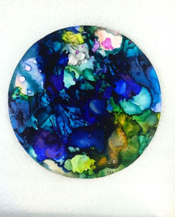 Original Abstract Alcohol Ink Painting by bitsandpiecestoo