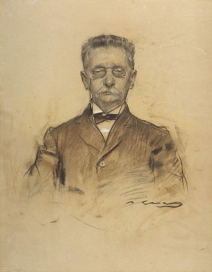 Retrat de Lluís Domènech i Montaner fet per Ramon Casas i conservat al MNAC a Barcelona.