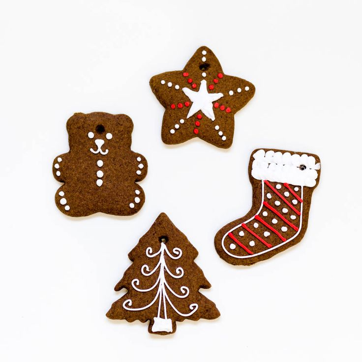 Set Of Four Gingerbread Tree Decorations by Nila Holden on notonthehighstreet.com