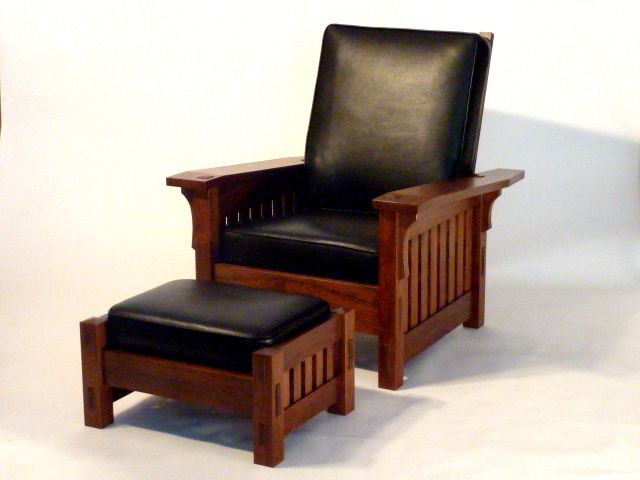 Black Walnut Morris style chair. This matches our bedroom furniture (except in more of a reddish, oak color), and I'd love to have a reading chair in the bedroom.