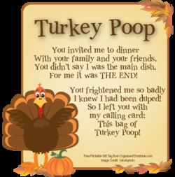Turkey Poop: Silly Thanksgiving Gag Gift  Turkey Poop is easy to make.    Place a handful of Milk Duds-brand candy, chocolate-covered raisins, or brown jelly beans in a small zipper food storage bag or seasonal cellophane gift bag.    Label with the Turkey Poop poem below or a free printable Turkey Poop gift tag or bag topper: