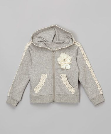 Look what I found on #zulily! Gray Lace-Trim Zip-Up Hoodie - Infant, Toddler & Girls #zulilyfinds