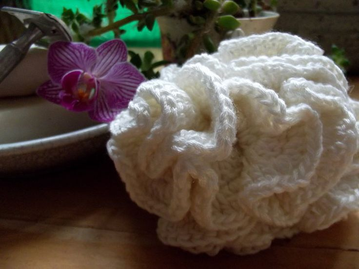 Shower scrubby. Made from organic bamboo. Gorgeously soft, ecofriendly, antibacterial compostable. Hand crocheted.