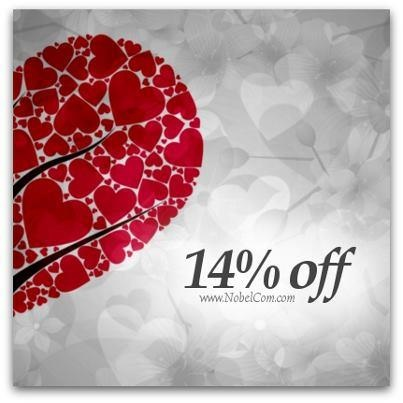 We got a special Valetine's gift for you: 14% DISCOUNT for all orders above $40, 10% OFF for any other amount!    Go to www.NobelCom.com and claim your gift just by entering LOVE-1081918772 on checkout! ❤