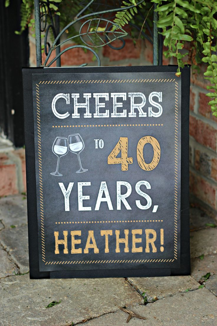 Cheers to 40 Years party sign / decor.  11x17 professionally printed / Physical product.  Wine / Chalkboard / gold / white.  Any Age. by CharmingTouchParties on Etsy