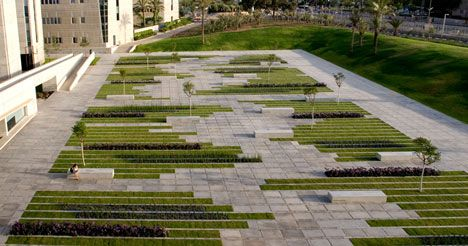 Designer: Chyutin Architects.  Project:  Ben- Gurion University Campus  Location: Be'er Sheba, Israel,     More Info: http://www.dezeen.com/2011/01/12/bgu-university-entrance-square-by-chyutin-architects/