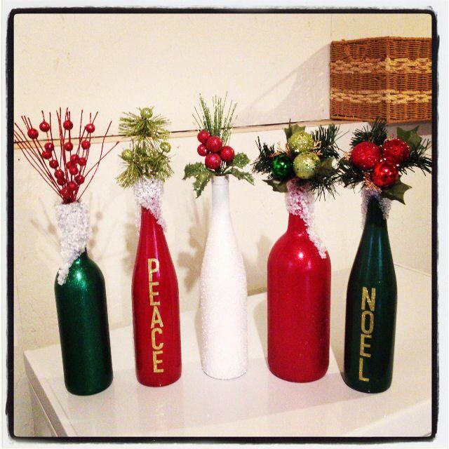 Christmas decoration, wine bottles, DIY, holiday
