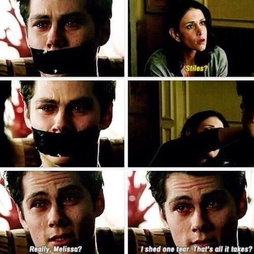 """I cried!! I literally fell apart when i saw """"stiles"""" crying"""
