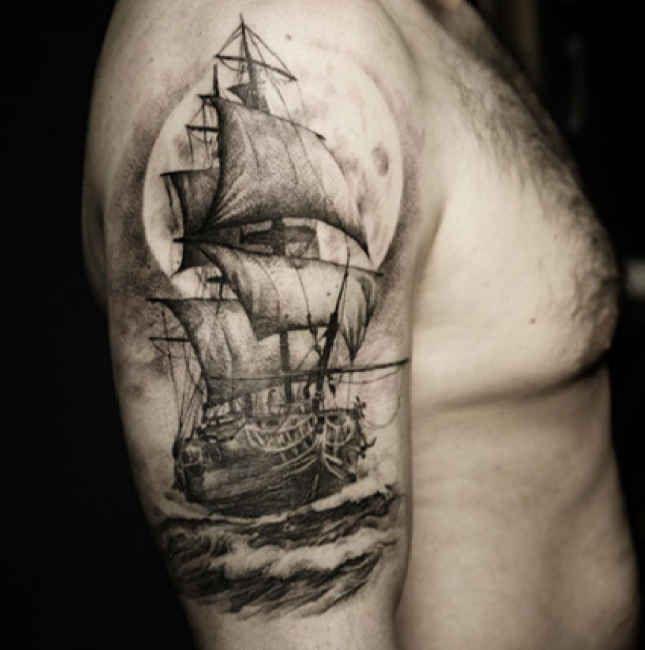 Tattoo Ideas Classic Ships Piercing Ideas Tattoo: Upper Arm Tattoo Sailing Ship In The Water