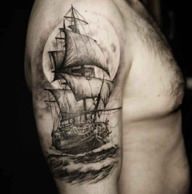 Upper arm Tattoo sailing ship in the water  - http://tattootodesign.com/upper-arm-tattoo-sailing-ship-in-the-water/  |  #Tattoo, #Tattooed, #Tattoos