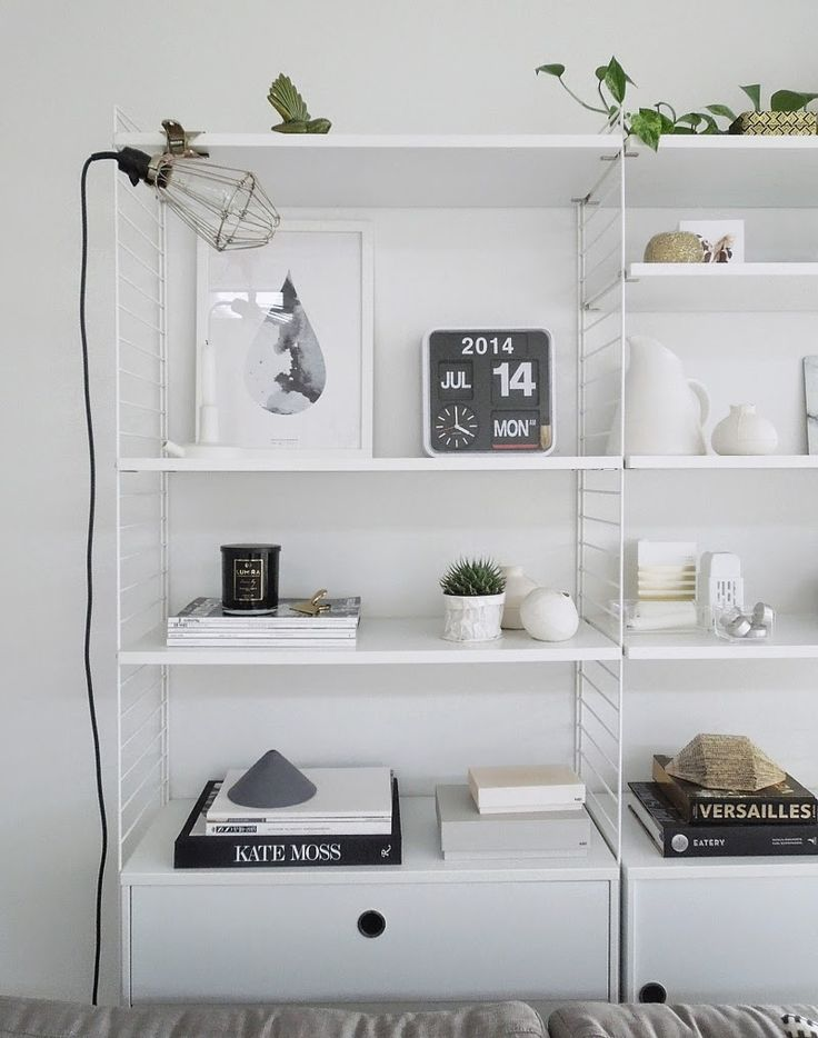 String shelf styling. by Michelle Halford from TDC string shelving